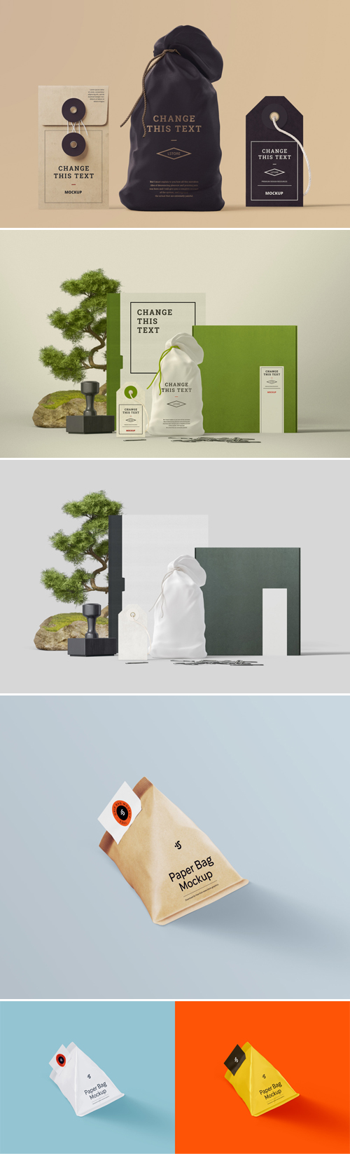Box, Tag, Bag & Book PSD Mockups Templates