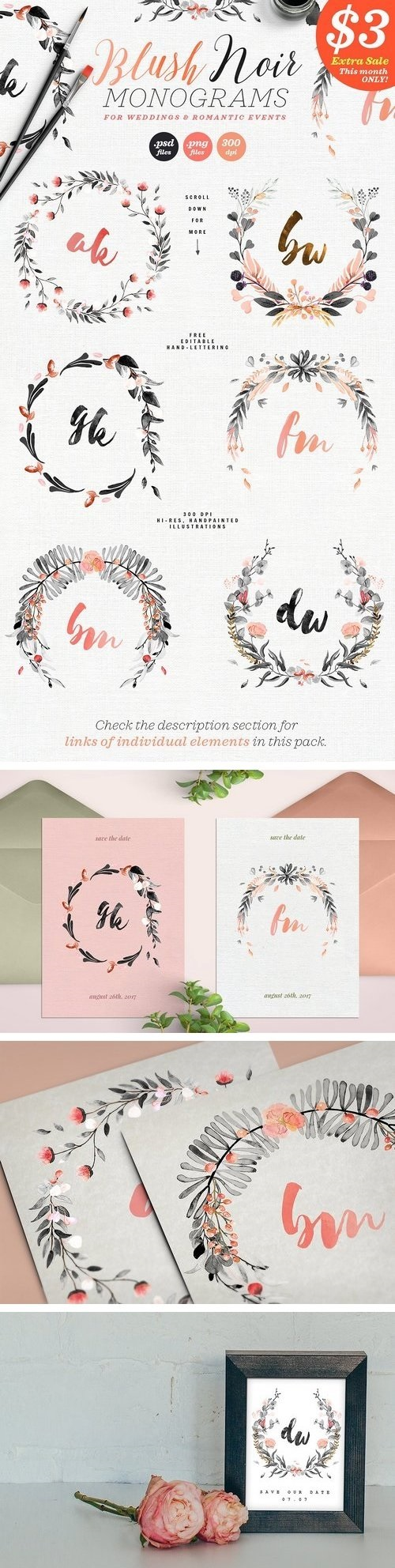 6 Blush Noir Wedding Monograms IV - 1511093